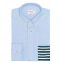 Chemise Casual Bleue à Poche Rayée Verte
