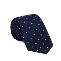 Blue tie with white polka-dots
