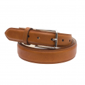 Hazelnut leather belt with silver buckle