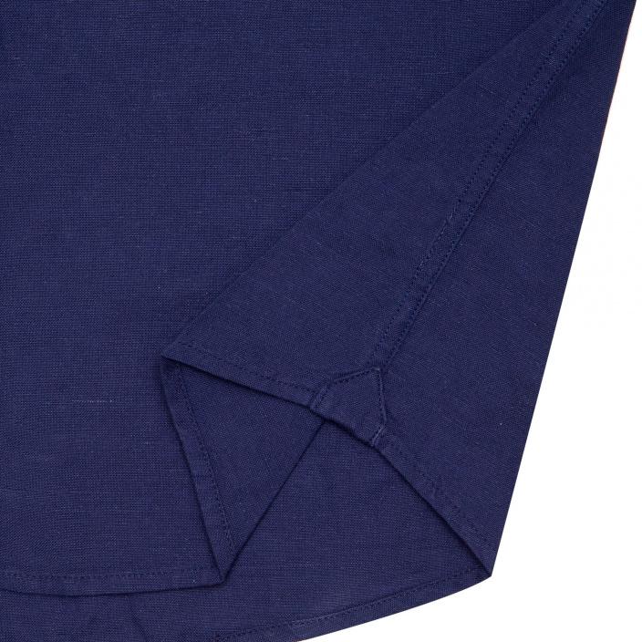 Chemise décontractée en lin et coton bleu marine