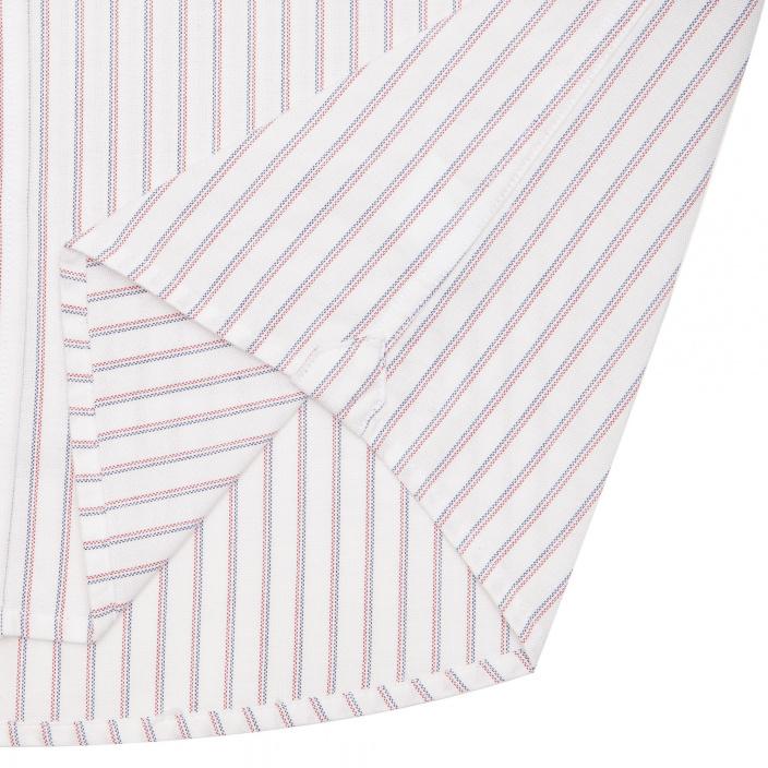 Chemise décontractée en oxford blanche à rayures bleues et rouges