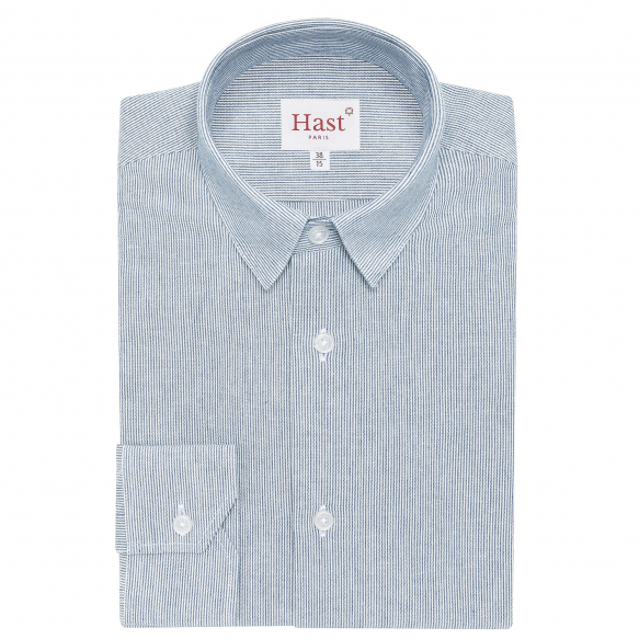 Grey melange shirt with stand up collar