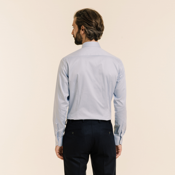 Extra-Slim Plain Blue Shirt With Frenc Collar