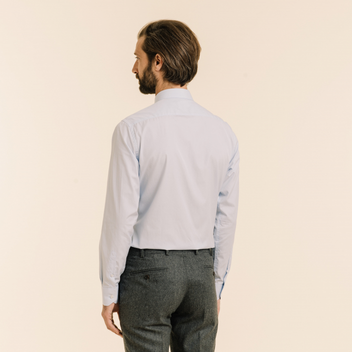 Sky Blue Shirt With French Collar