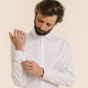 Slim fit herringbone white shirt