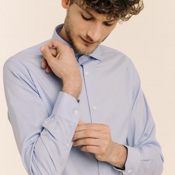 Slim fit premium blue twill...