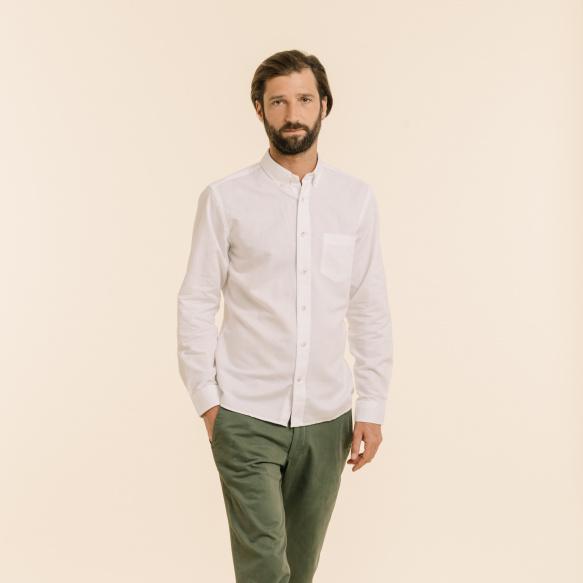 Chemise décontractée en lin et coton blanche