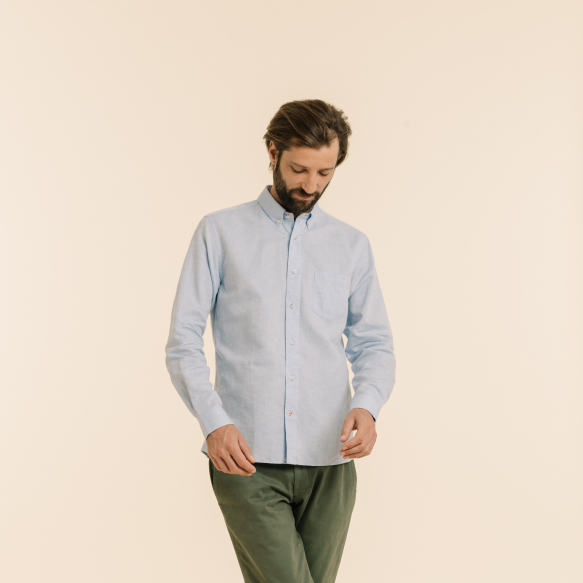 Chemise décontractée en lin et coton bleue