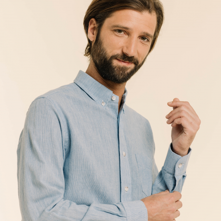 Relaxed fit blue fil-à-fil shirt