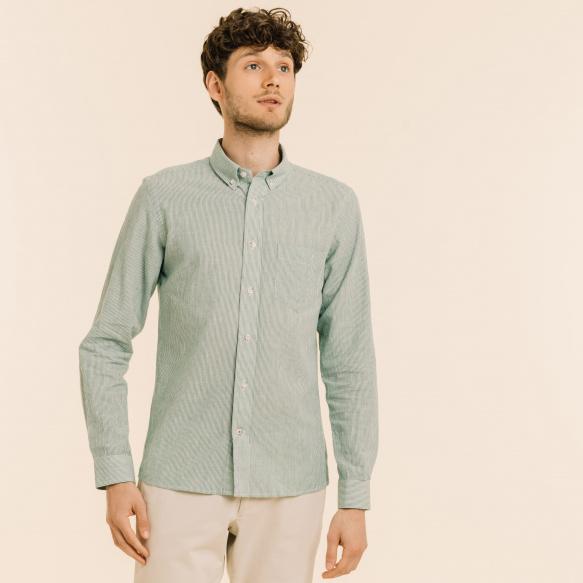 Chemise décontractée lin et ramie à rayures vertes
