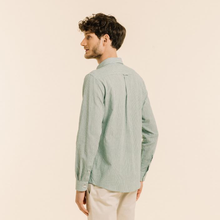 Linen and ramie green stripes shirt