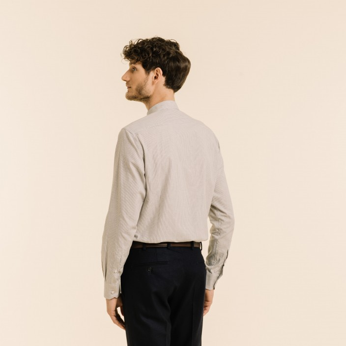 Stand up collar grey-striped oxford shirt