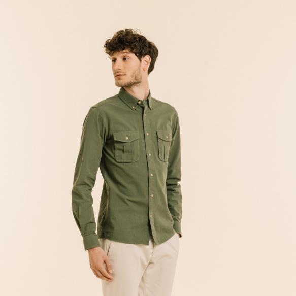 Chemise décontractée saharienne verte
