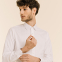Classic fit white herringbone shirt