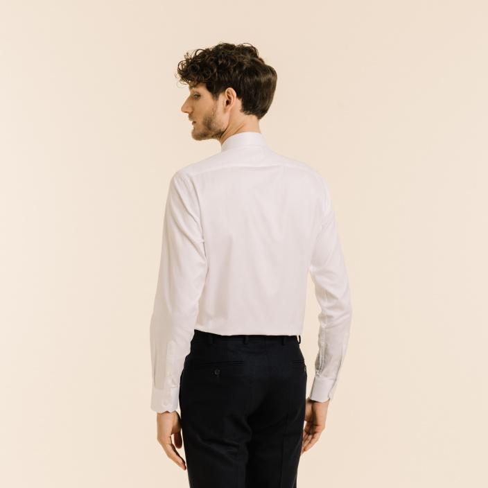 White herringbone shirt with french collar