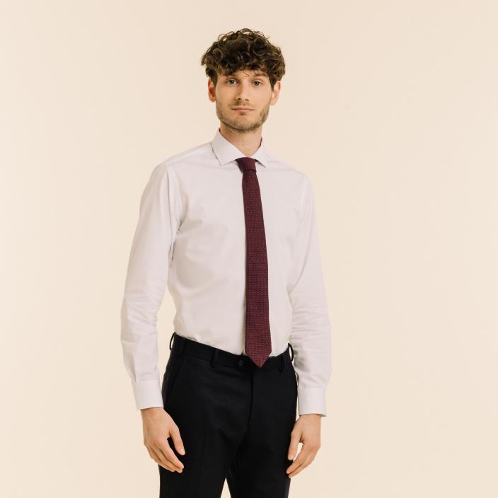 Burgundy cotton and silk grenadine tie