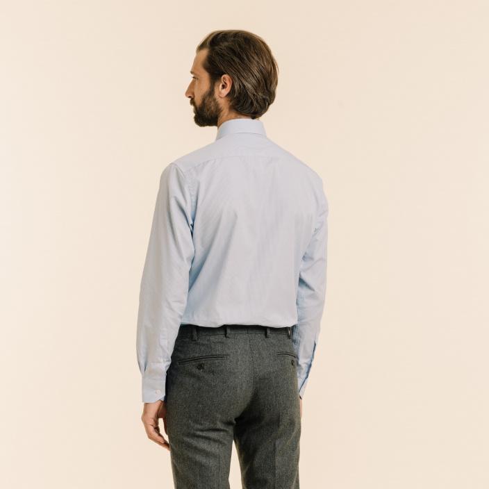 Chemise classique en popeline à carreaux bleu clair