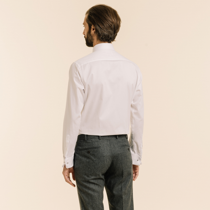Classic fit twill white shirt with french cuffs