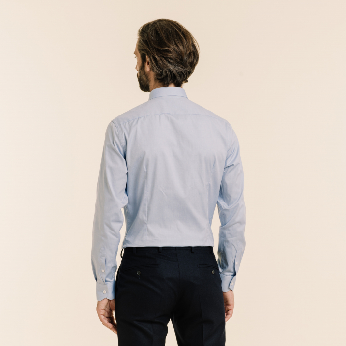 Extra-Slim Blue Shirt With French Collar