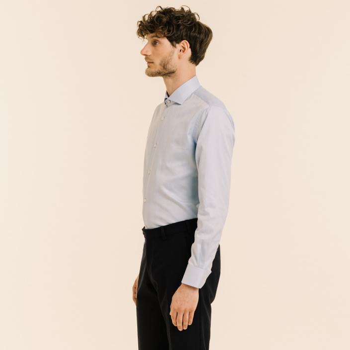 Classic fit blue herringbone shirt