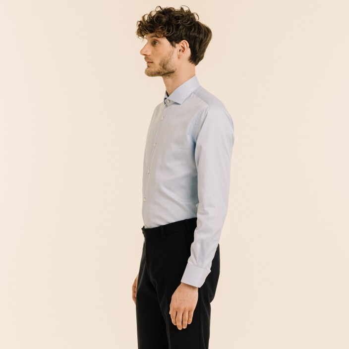 Blue Herringbone Shirt