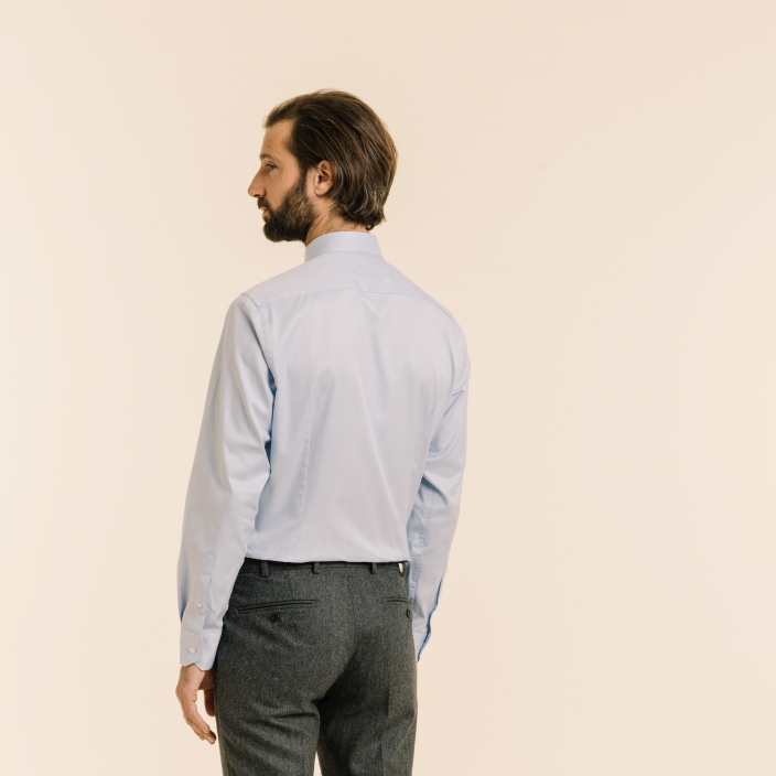 Extra slim blue herringbone shirt with french collar