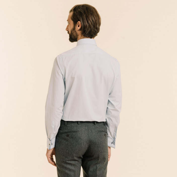 Classic fit poplin light-blue shirt with french cuffs