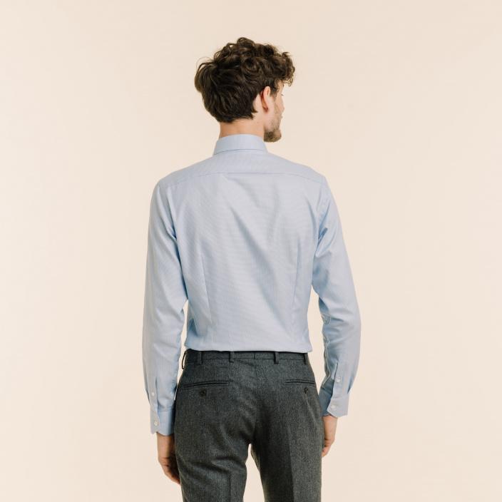 Slim fit houndstooth blue oxford shirt