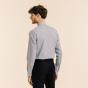 Classic fit thin dark blue stripes poplin shirt