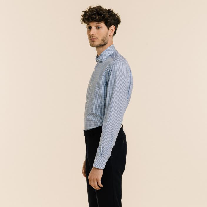Extra-Slim Blue Gingham Shirt