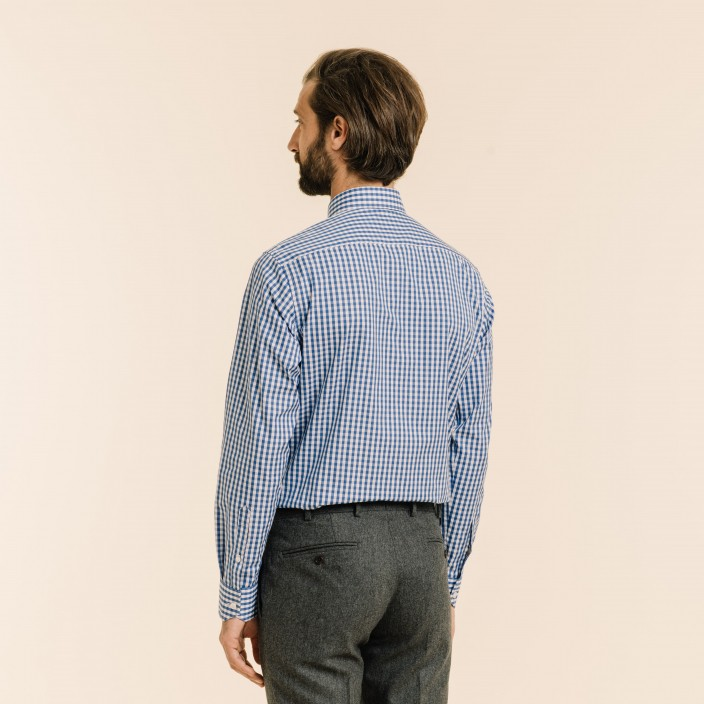 Classic fit large blue checks poplin shirt