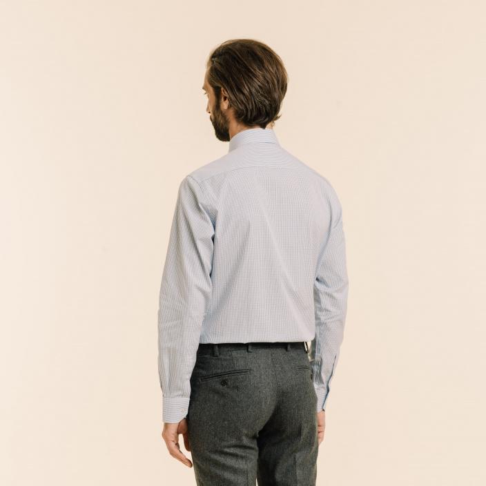 Classic fit dark blue checks poplin shirt