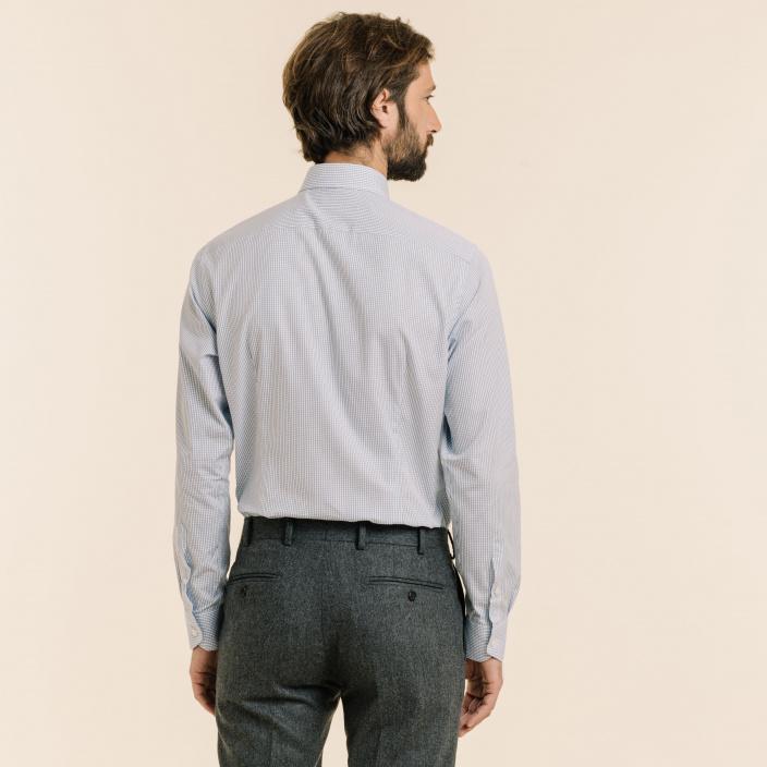 Extra-Slim Dark Blue Check Shirt
