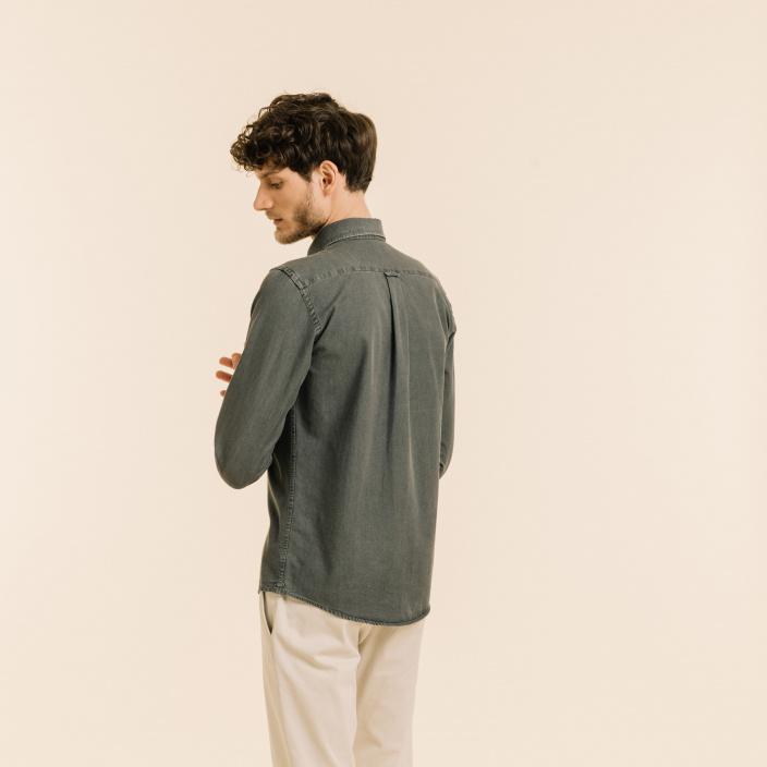 Chemise décontractée en denim grise
