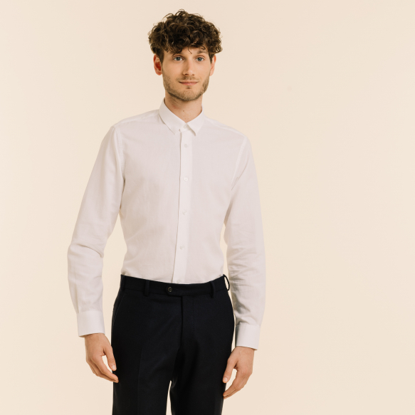 Chemise blanche lin et coton
