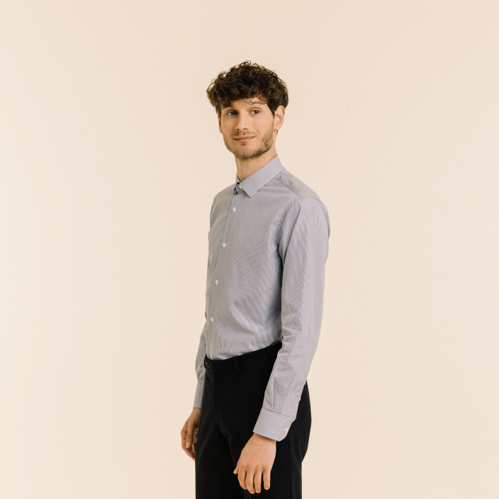 Extra-Slim Dark Blue Small Stripe Shirt with French Collar