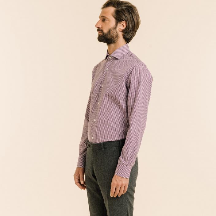 Extra-Slim Purple Gingham Shirt
