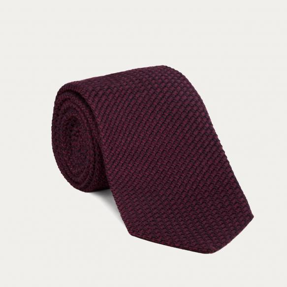 Cravate bordeaux en grenadine de soie et coton