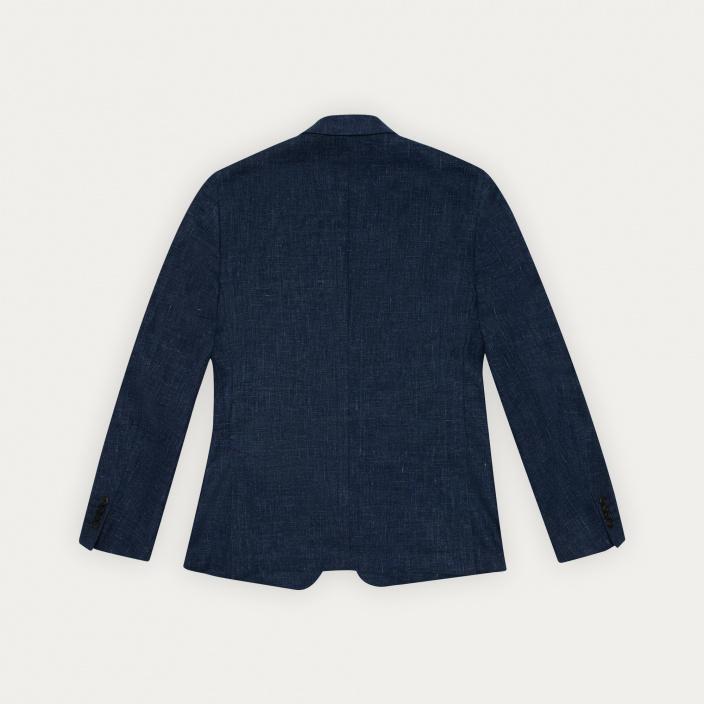 Blazer bleu en lin et coton