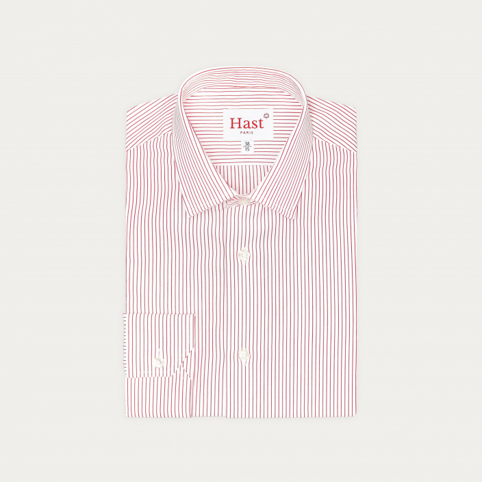 Extra-Slim Red Striped Shirt With French Collar