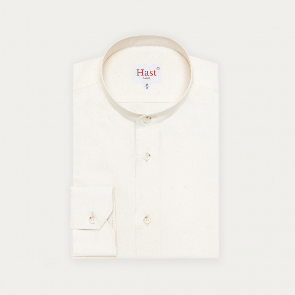 Stand up collar soft white...