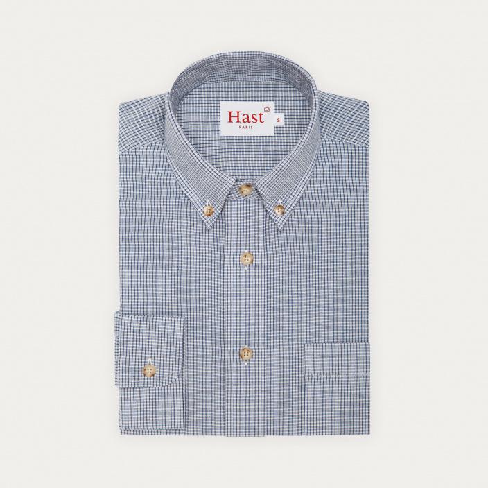 Chemise décontractée en lin, coton et ramie à carreaux