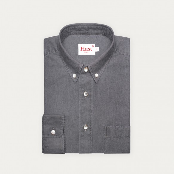 Relaxed fit grey denim shirt