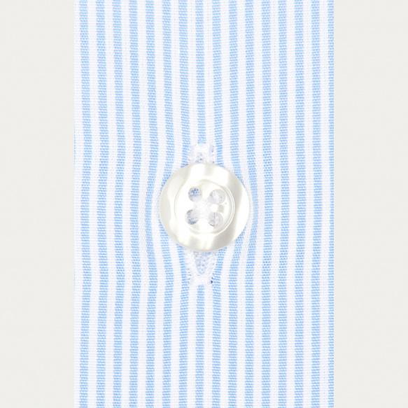 Chemise cintrée en popeline à petites rayures bleues