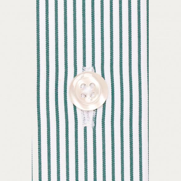 Chemise cintrée en popeline à rayures vertes
