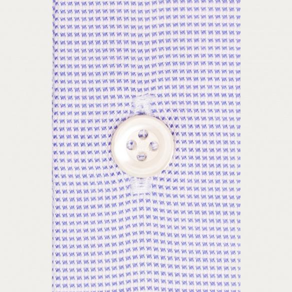 Chemise premium cintrée en oxford pied-de-puce bleue