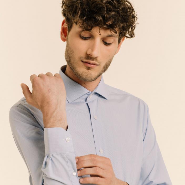 Extra-slim blue check semi plain shirt