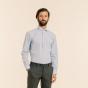 Chemise cintrée en popeline à carreaux bleu clair