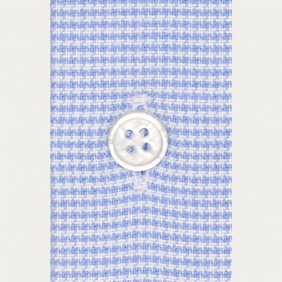 Chemise classique en flanelle pied-de-puce bleue