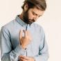 Chemise décontractée en flanelle épaisse bleu clair